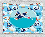 JAKE SAWYERS Kids Party Tapestry, Airplane Collection with Different Vessels Commercial Airline Balloon Cartoon, Wall Hanging for Bedroom Living Room Dorm, 80 W X 60 L Inches, Multicolor