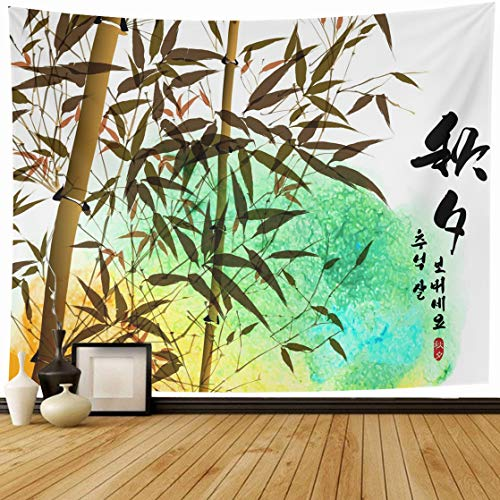 Ahawoso Tapestry Wall Hanging 80x60 Water Bamboo Ink Painting Korean Chuseok Writing Nature Color Autumn Cake Culture Design Drawing Home Decor Tapestries Decorative Bedroom Living Room Dorm ()
