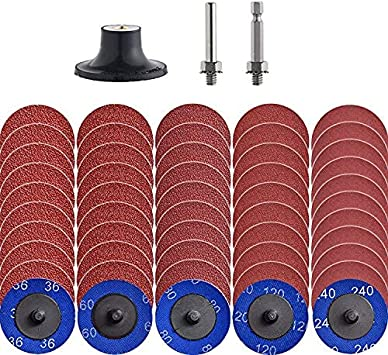 """60pcs 2inch Sanding Discs Set Quick Change with 1//4/"""" Holder for Die Grinders"""