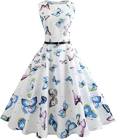 Women Dresses Lady Vintage Print Bodycon Sleeveless Evening Party Swing Dress Belt