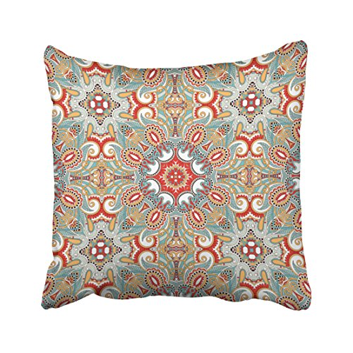Emvency Square 18x18 Inches Decorative Pillowcases bohemian chic retro red turquoise teal kaleidoscope pattern Cotton Polyester Decor Throw Pillow Cover With Hidden Zipper For Bedroom Sofa (Squares Retro Pattern)