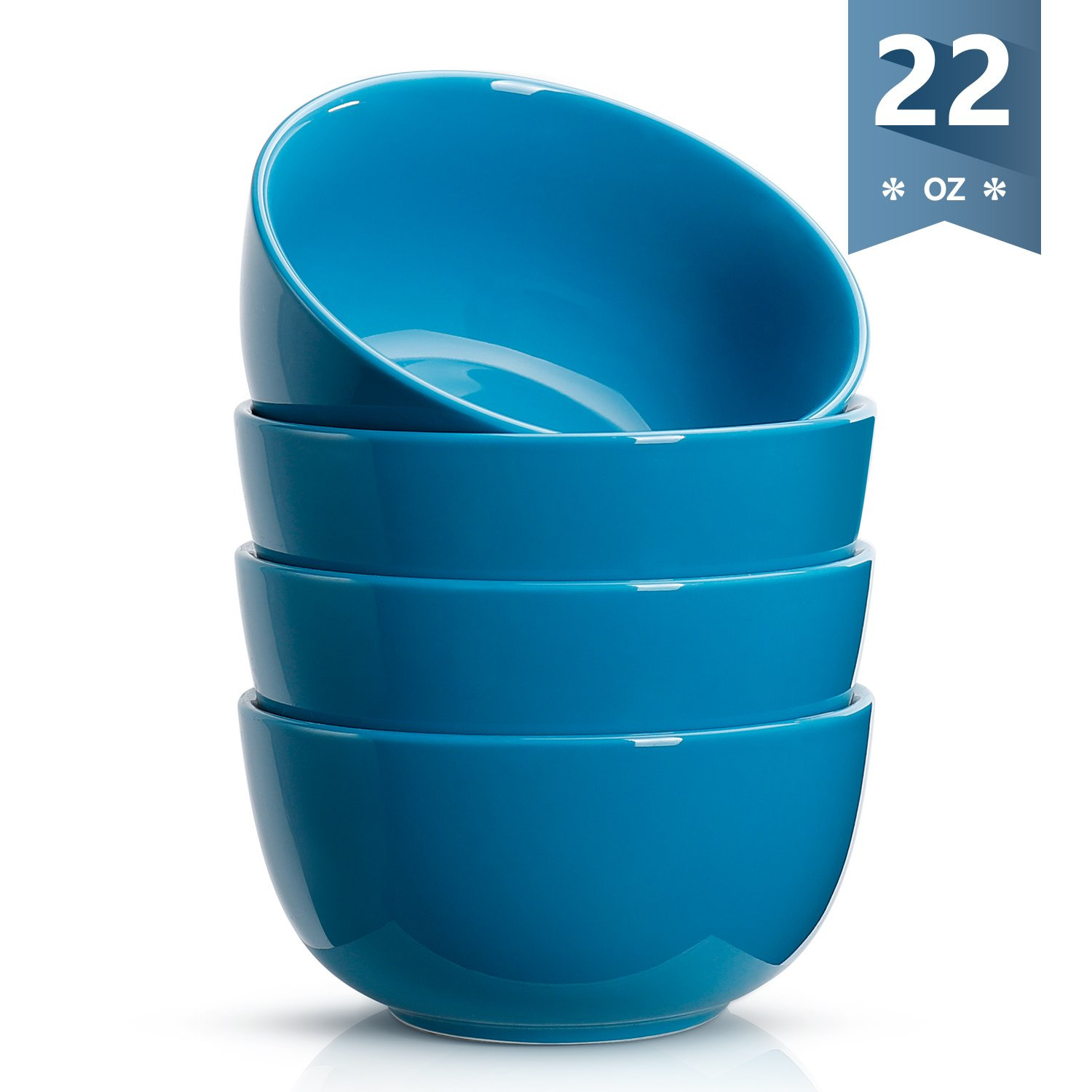 Sweese 1135 Porcelain Bowls - 22 Ounce for Cereal, Soup, Rice, Salad - Set of 4, Steel blue