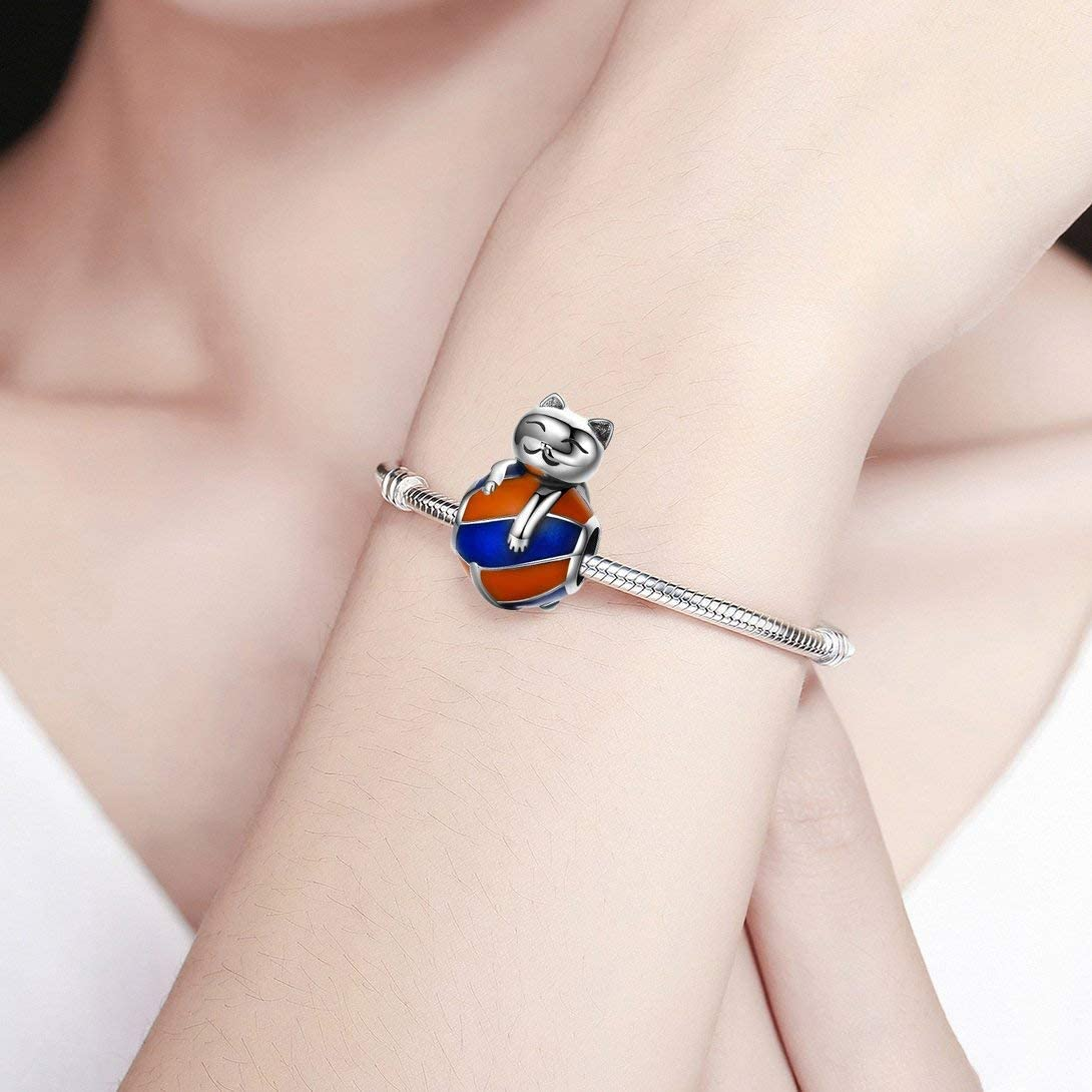 Swiftswan Fashionable 925 Sterling Silver Lovely Naughty Cat Design Beads DIY Beads