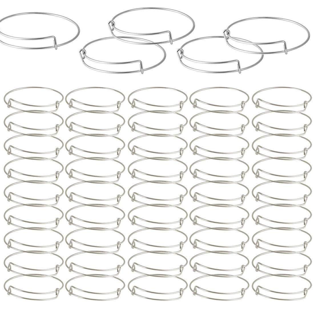 Adjustable Wire Blank Bracelets for Jewelry Making Silver DIY Jewelry Making Charms Bracelets Gift2U 50PCS Expandable Bangle Bracelets