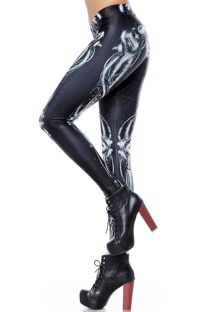 World of Leggings Steampunk Skeleton Leggings Medium by World of Leggings (Image #2)