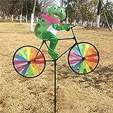 Techinal Cute 3D Animal on Bike Windmill Wind Spinner Whirligig Garden Lawn Yard Decor ( Bullfrog )