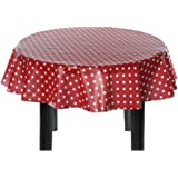 Easy Wipe Round Vinyl Tablecloth 137cm - Polka Red Design