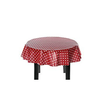 Easy Wipe Round Vinyl Tablecloth 137cm   Polka Red Design