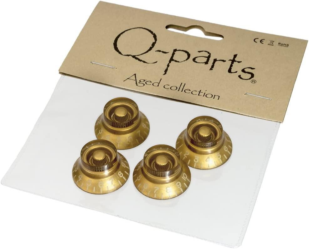 Q-Parts Aged Collection Vintage Style Bell Knobs GOLD 4 NEW For Les Paul