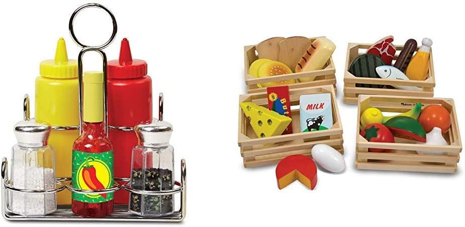Melissa & Doug Let's Play House! Condiment Set (Best for 3, 4, and 5 Year Olds) & Food Groups - Wooden Play Food, The Original (Pretend Play, Kids Toy Best for 3, 4, 5, and 6 Year Olds)