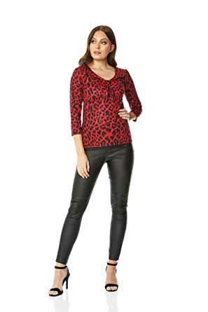 7bc456f72c5e Roman Originals Women Leopard Print Tie Front Top - Ladies Casual Everyday  Going Out Party Animal Printed V-Neck 3/4 Length Sleeve Stretch Jersey Tops:  ...