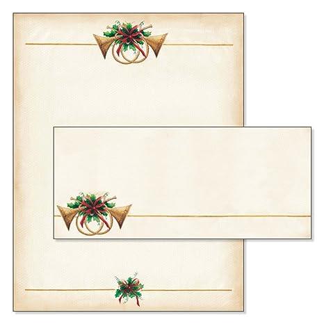 amazon com antique horns christmas stationery matching envelopes