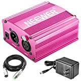 Neewer 1-Channel 48V Phantom Power Supply Rose Red with Adapter, BONUS XLR 3 Pin Microphone Cable for Any Condenser Microphone Music Recording Equipment(8 feet)