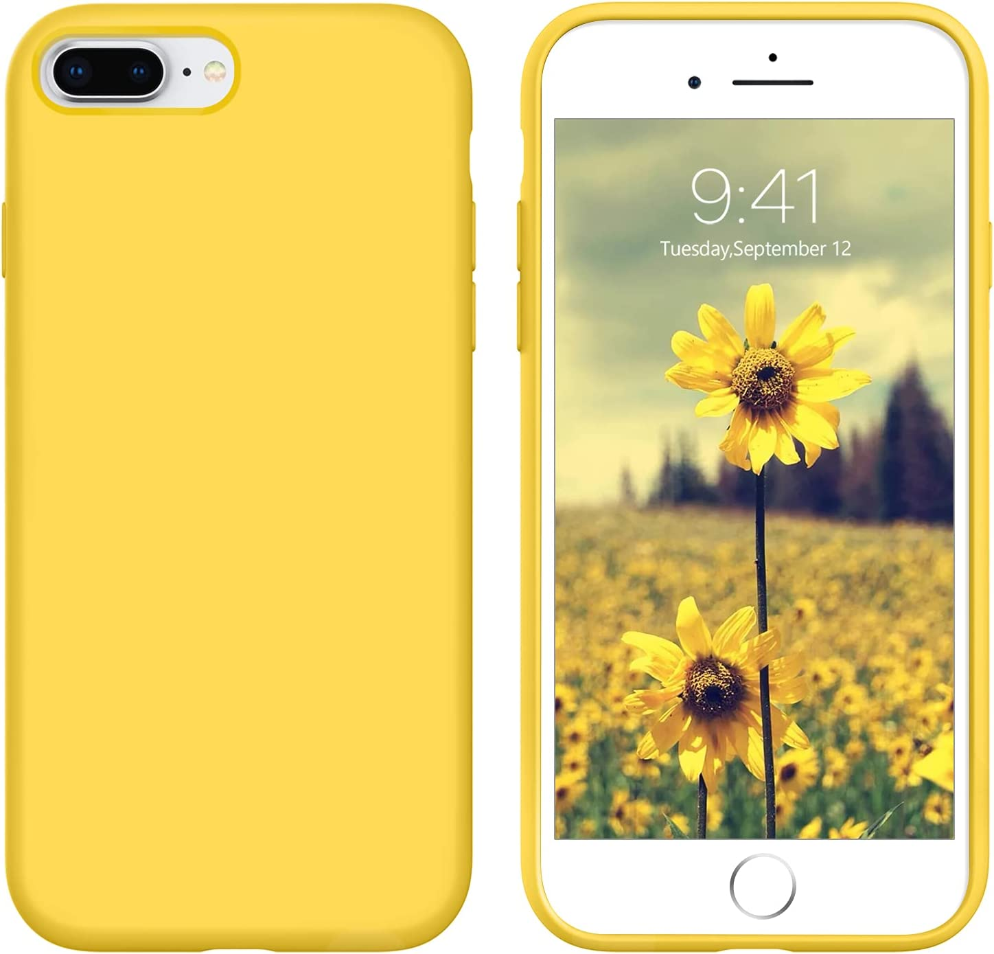 DUEDUE iPhone 8 Plus Case,iPhone 7 Plus Case,Liquid Silicone Soft Gel Rubber Slim Cover with Microfiber Cloth Lining Cushion Shockproof Full Protective Case for iPhone 8 Plus/iPhone 7 Plus, Yellow