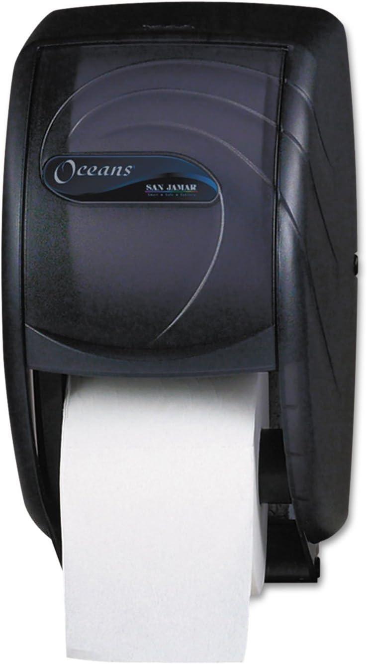 San Jamar R3590TBK Black Pearl Oceans Duett Standard Bath Tissue Dispenser
