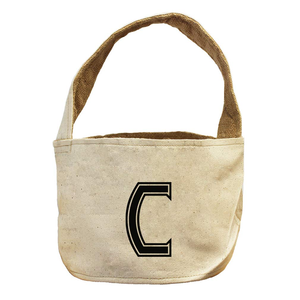 Style in Print C College Font Monogram Letter C Canvas and Burlap Storage Basket
