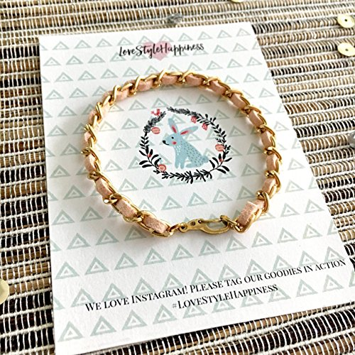 (Chain Bracelet, Suede woven chain bracelet,Friendship Bracelet, Holiday Card)
