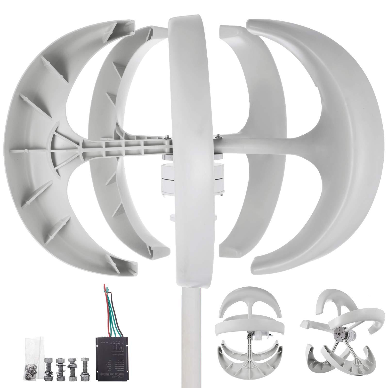 Happybuy Wind Turbine 400W 24V Wind Turbine Generator White Lantern Vertical Wind Generator 5 Leaves Wind Turbine Kit with Controller No Pole (400W 24V, White)