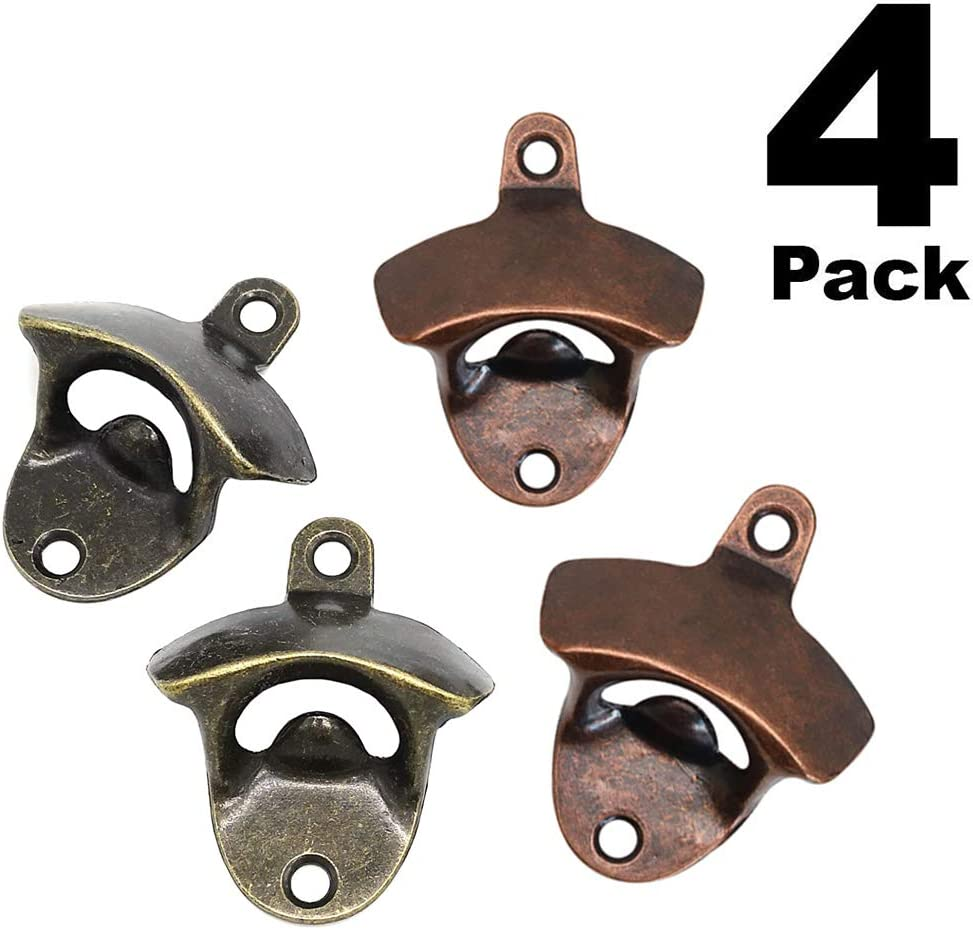 4 PACK Vintage Style Cast Iron Wall Mount Bottle Opener Includes 8pcs Mounting Screws,Great for Bars KTV Hotels Homes