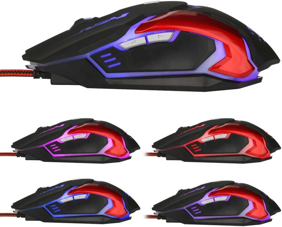 BZFjy Mouse Wired Mouse E-Sports Game Macro Definition Mouse Colorful Breathing Light Game Mouse Desktop Laptop Black