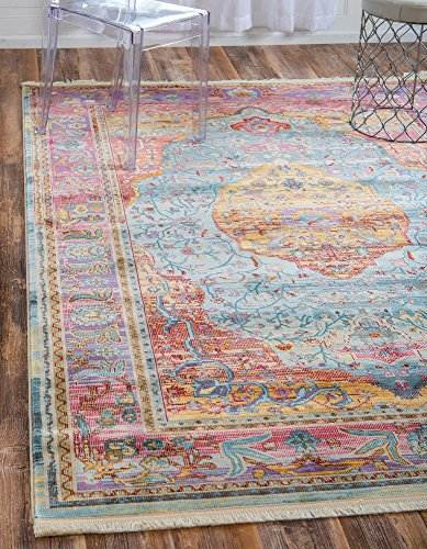 Unique Loom Baracoa Collection Bright Tones Vintage Traditional Light Blue Area Rug (4' 3 x 6' 0) - This rug is perfect for those high traffic areas in your home. It's also kid and pet friendly! This rug is water resistant, mold and mildew resistant, stain resistant, and does not shed. Cleaning Instructions: As long as it's a short-pile, indoor rug, we recommend spot cleaning with resolve, and regular vacuuming is recommended. You can use a carpet cleaner (shampooer) but it should be dried immediately and evenly. - living-room-soft-furnishings, living-room, area-rugs - 61l hVtDj8L -