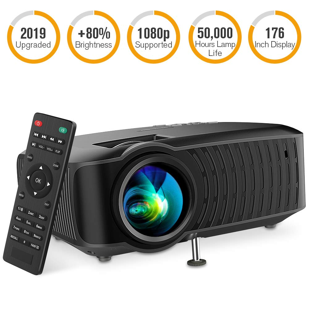 DBPOWER Video Projector, 120 ANSI 3400L 1080P Full HD LED Movie Projector, 50,000 Hours Lamp Life Home Theater Video Projector Compatible with HDMI/AV/USB/SD/VGA/TV/Laptop/Game by DBPOWER