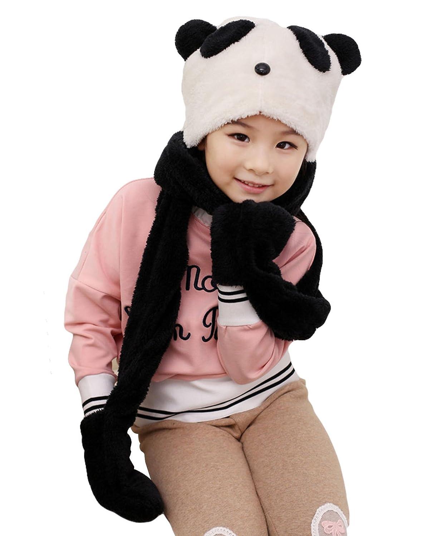 Little Girls Kids Winter Warm Panda Long Hooded Scarf Earflap Hat Gloves Pocket Aivtalk