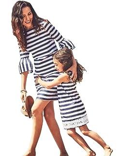 Minetom Madre e Hija Verano Cuello Redondo Manga Corta Rayas Partido de Tarde Vestido Mujer Niña