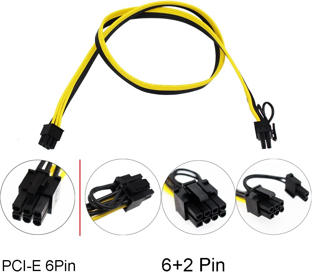 70CM, with 5 Nylon Cable Ties S-Union Ethereum ETH ZEC Mining Power Supply 12V GPU//PSU Breakout Board 12pcs 16AWG PCI-E 6Pin to 6+2Pin Cables 27.5Inch Length