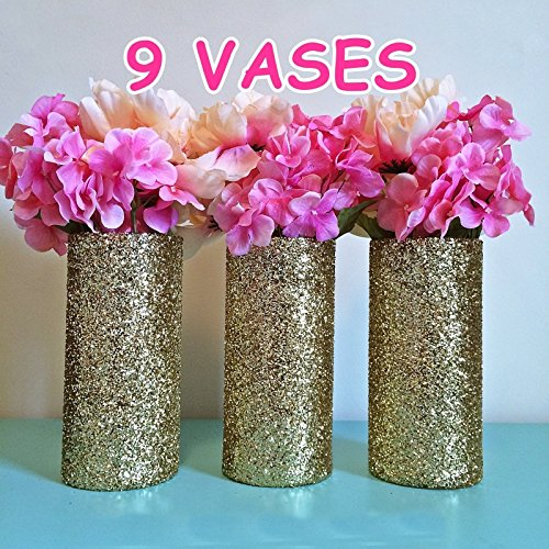 9 Gold Glitter Glass Cylinder Vases, Wedding Centerpieces, Gold Wedding, Gold Vases. Gold Party Decorations, Gold Birthday, Set of 9