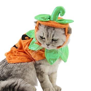 UKCOCO Disfraz de Halloween para Mascotas, Ropa del Gato y Sombreros de Forma de Calabaza