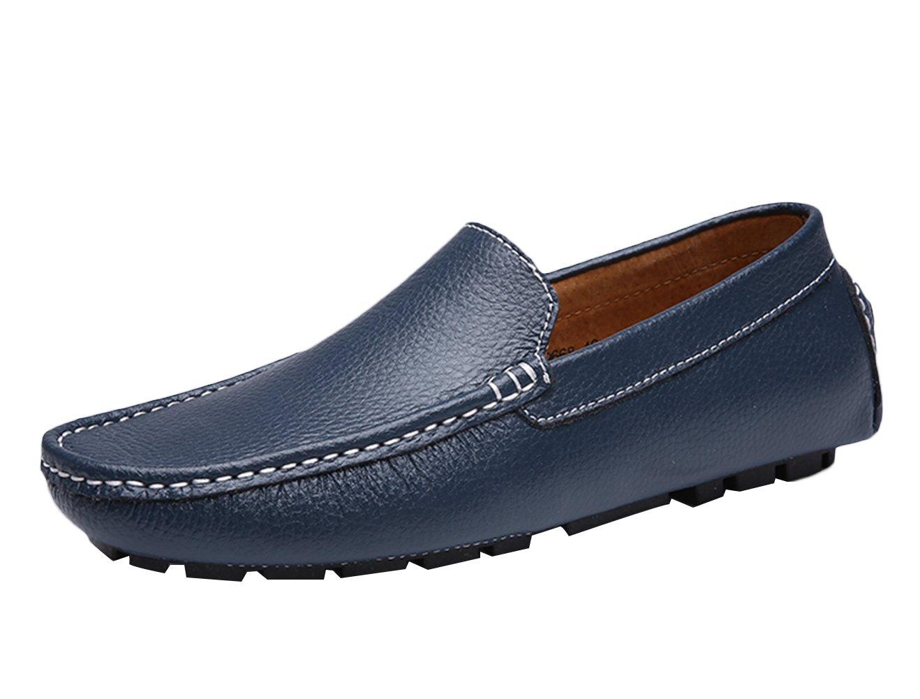 SK Studio Hombre Mocasines Zapatos Del Barco Respirable Calzado de Cuero Zapatos de Conducción Mocasine 42 EU|Azul Oscuro
