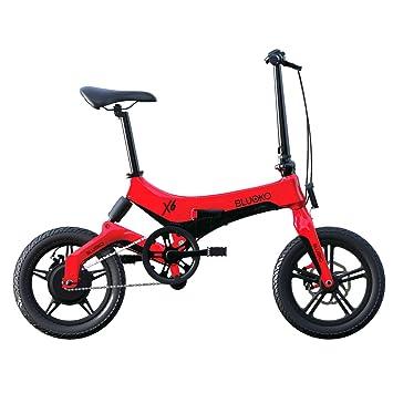 Bluoko Bicicleta eléctrica Plegable (Rojo)