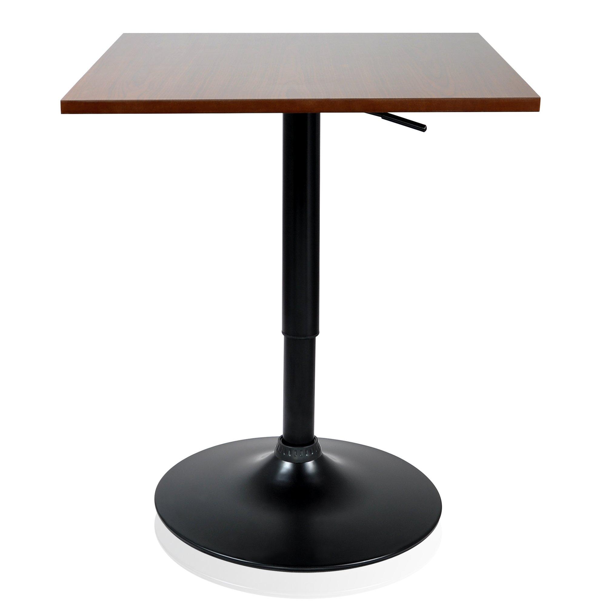 Krei Hejmo Adjustable Square Dining Cocktail Table with Metal Base VERŜO LINIO (Walnut, Square 23.6x23.6)