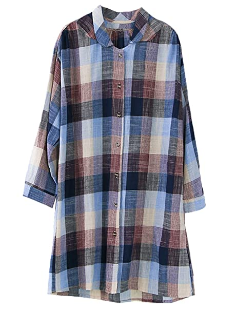 Vogstyle Mujer Casual Plaid largo Camisa Art 2 Rote Talla única