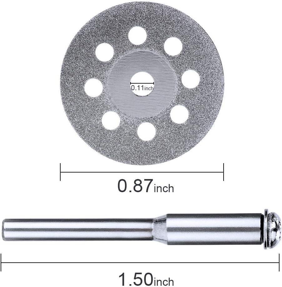 HandsEase 20 pcs 22mm Diamond Cutting Wheel Cut Off Discs Coated Rotary Tools for Dremel