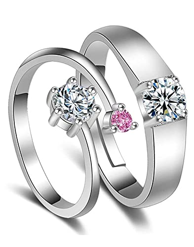d5b36bf0ddd Peora Platinum Plated Solitaire Adjustable Promise Anniversary Engagement  Couple Rings for Lovers