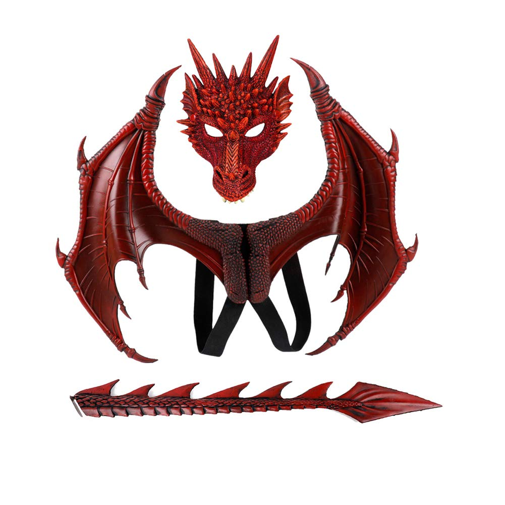 Balai Kids Fantasy Halloween Dinosaurio Dragon Costume Child Animal Mask Wing Tail Accessory (Red)