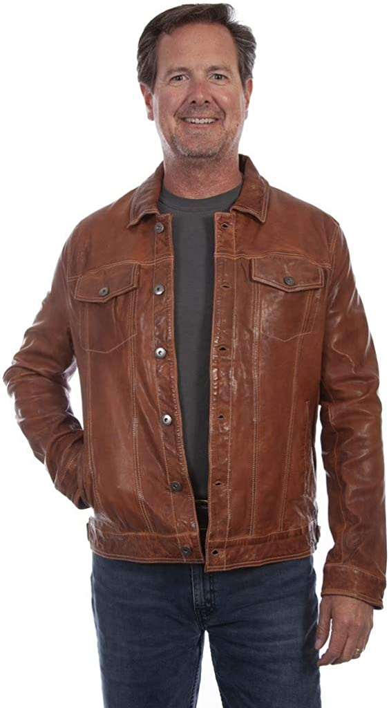 Men's Vintage Jackets & Coats Scully Western Jacket Mens Leather Washed Jean Button Tan F0_1055 $263.99 AT vintagedancer.com
