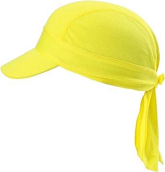 Arcweg Pañuelos de Cabezas Hombres Bandanas Verano Gorros Piratas de Ciclismo con Visera Malla Transpirable UV Protección UPF 50+Running Deportes al Aire Libre Amarillo para Cabeza 54-62cm: Amazon.es: Deportes y aire libre