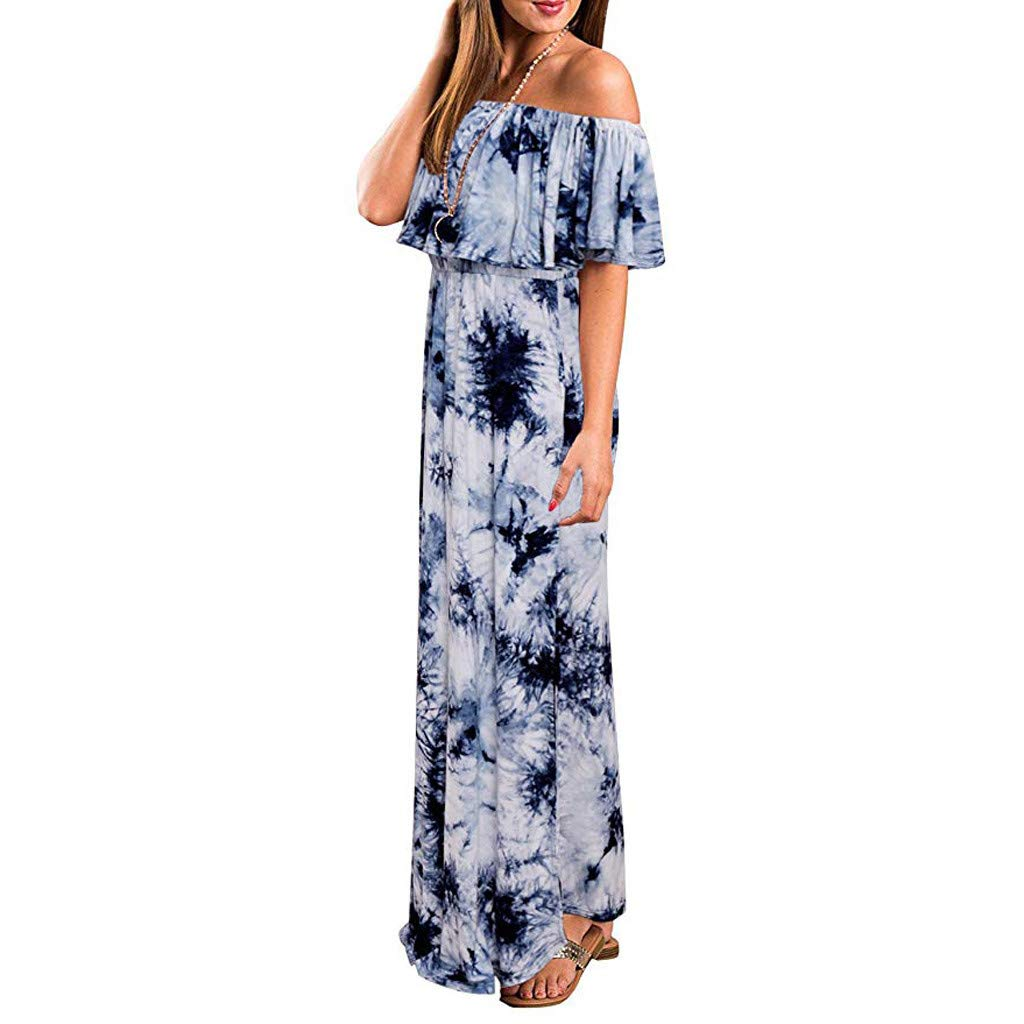 f64a93e92753 Lancy_Luna Vintage Off Shoulder Tie Dye Maxi Long Dress for Women Short  Sleeve Lace up Midi Dress with Pockets for Cocktail Party: Amazon.co.uk:  Clothing