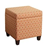 Cheap HomePop Upholstered Storage Cube Ottoman with Hinged Lid, Orange Geometric