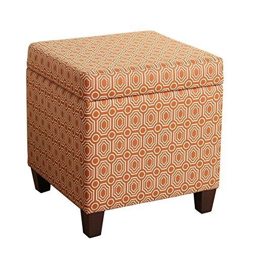 HomePop Upholstered Storage Cube Ottoman with Hinged Lid, Orange Geometric
