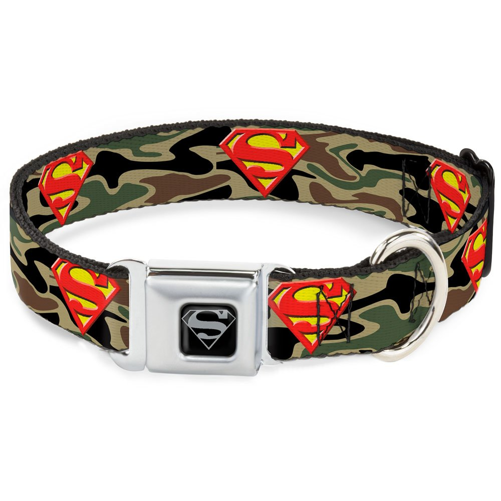 Buckle-Down Seatbelt Buckle Dog Collar Superman Shield Camo Olive 1  Wide Fits 15-26  Neck Large