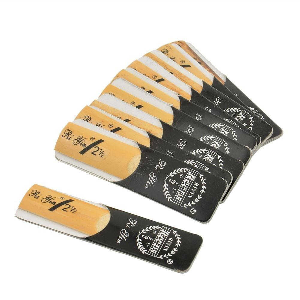 FEGEGO Alto Sax Reeds Tenor Saxophone Reeds Soprano Sax Reeds For 2.5 Strength 2 1/2 Music Gift (10 PCS) (Bb Soprano)