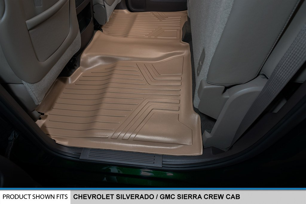 SMARTLINER Floor Mats 2nd Row Liner Tan for Crew Cab 2014-2018 Silverado//Sierra 1500-2015-2019 2500//3500 HD