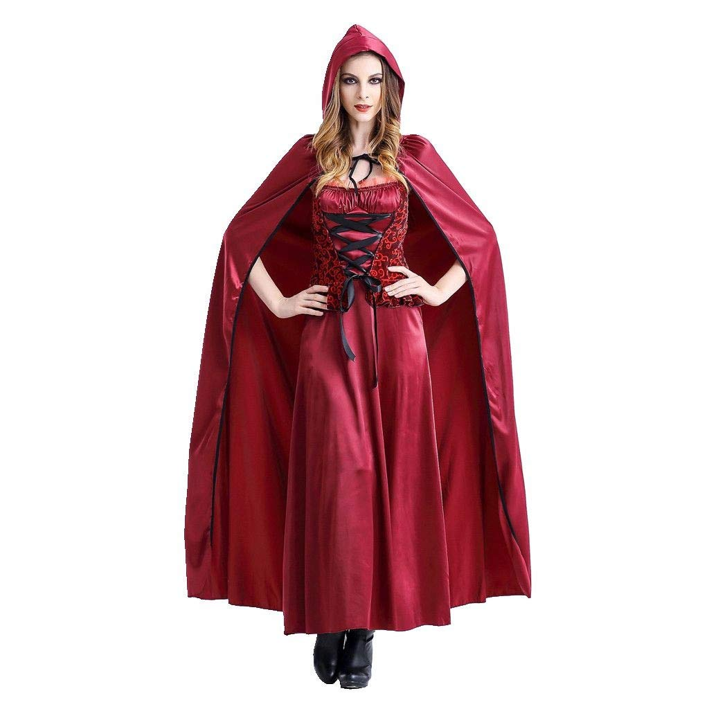 Bravetoshop Maxi Dress for Women, Halloween Cosplay Costume Little Red Riding Hood Vintage Long Dress (Red,XL)
