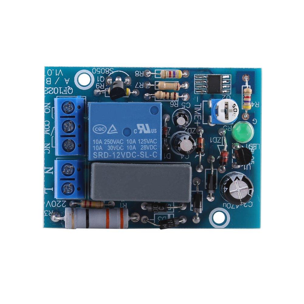 Módulo interruptor retardo temporizador de 220V CA Tiempo apagado ajustable relé Carga 10A 250V AC / 10A 30V DC(0~100Min) Zerone