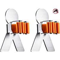 Broom Holder Wall Mount No Drill Holes Damage to Wall Super Strong Self Adhensive 3M Mop Holder Stainless Steel Spring Clip Silicone Protector Broom and Mop holder Holds up to 10 Pounds, 2 Pack