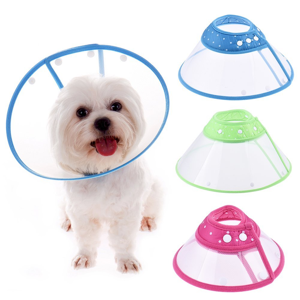 Cute Fashion Recovery collier pour chien/chat Wound Healing Medical Entonnoir Housse de protection anti Bite Collier Outil pour Pet chien Chat 4 tailles disponibles à pois style couleur aléatoire ZSL